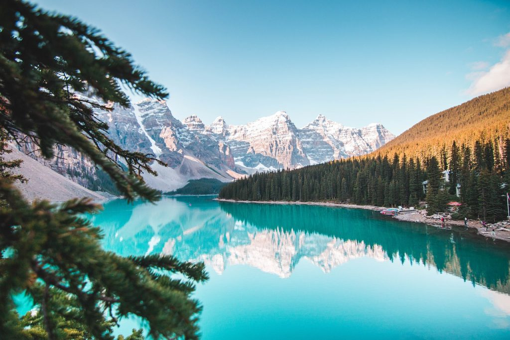Alberta Canada zimní foto jezero